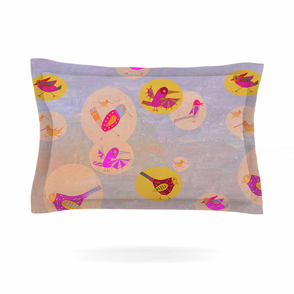 "Marianna Tankelevich ""Birds Paradise"" Pink Abstract Pillow Sham - KESS InHouse  - 1"
