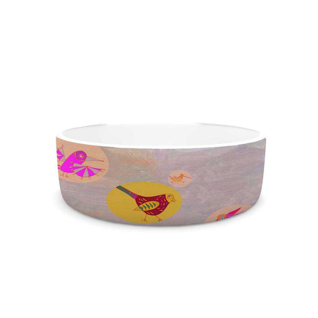 "Marianna Tankelevich ""Birds Paradise"" Pink Abstract Pet Bowl - KESS InHouse"