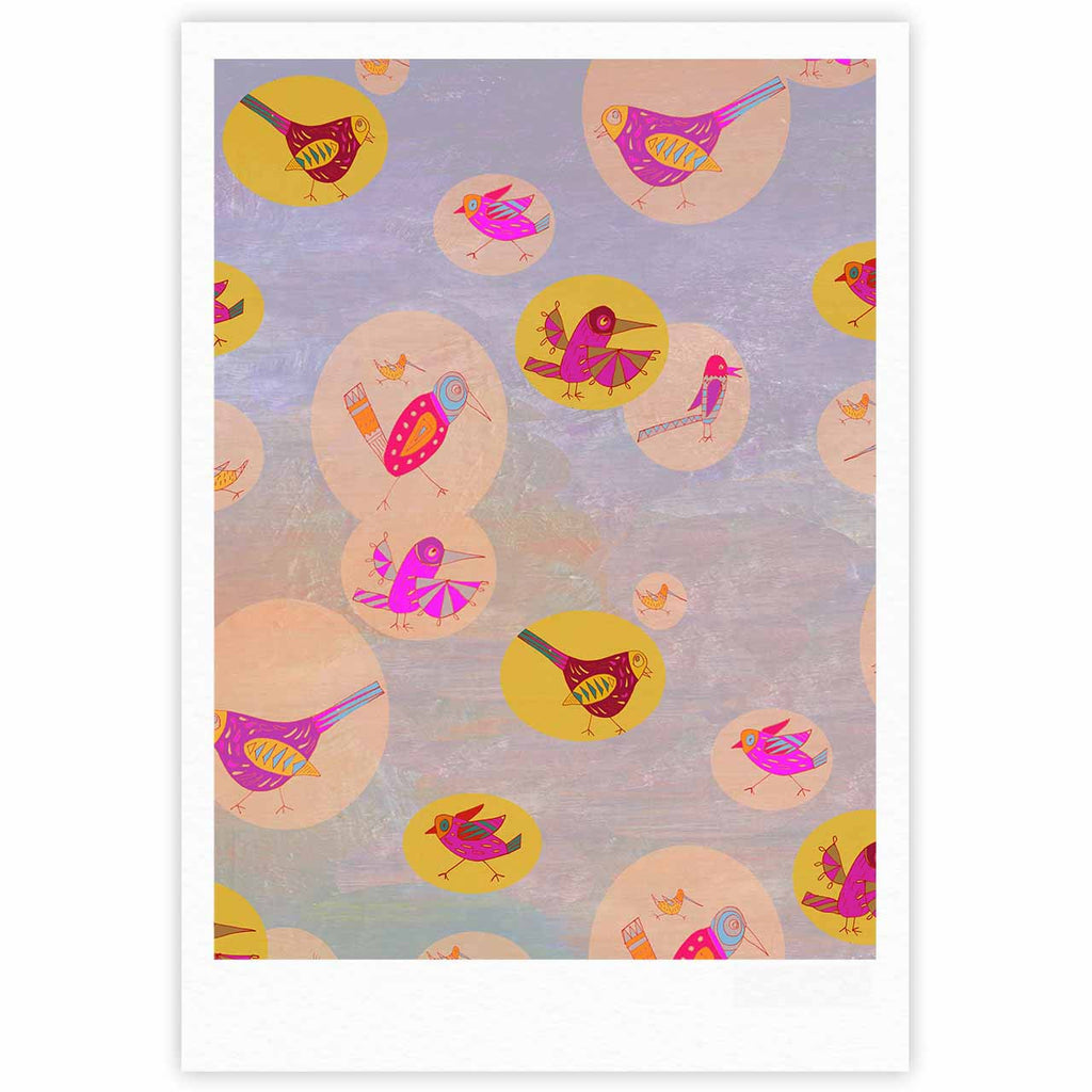 "Marianna Tankelevich ""Birds Paradise"" Pink Abstract Fine Art Gallery Print - KESS InHouse"