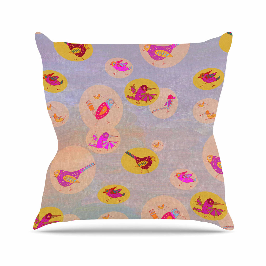 "Marianna Tankelevich ""Birds Paradise"" Pink Abstract Outdoor Throw Pillow - KESS InHouse  - 1"