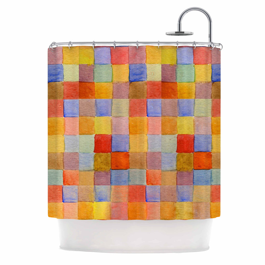 "Marianna Tankelevich ""Rainbow Mozaic"" Multicolor Pattern Shower Curtain - KESS InHouse"