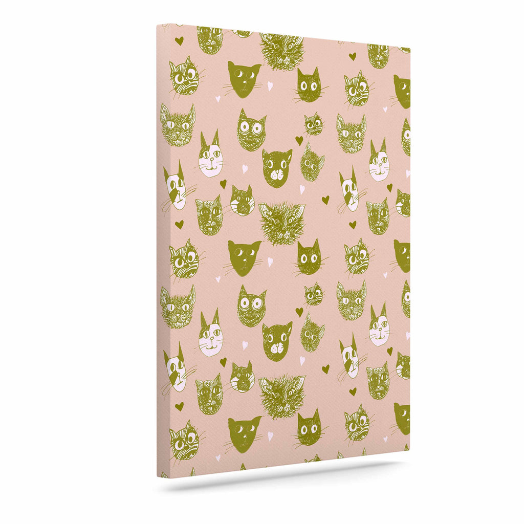 "Marianna Tankelevich ""Vintage Cats"" Pink Pattern Canvas Art - KESS InHouse  - 1"