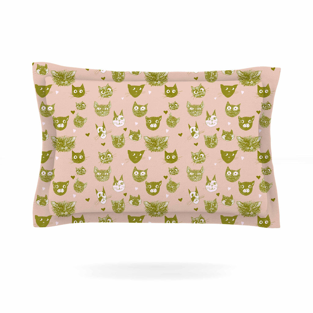 "Marianna Tankelevich ""Vintage Cats"" Pink Pattern Pillow Sham - KESS InHouse  - 1"