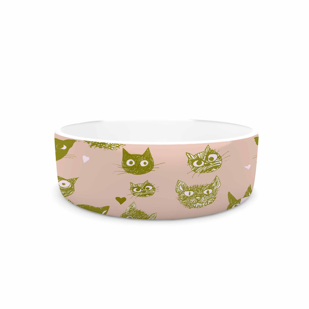 "Marianna Tankelevich ""Vintage Cats"" Pink Pattern Pet Bowl - KESS InHouse"