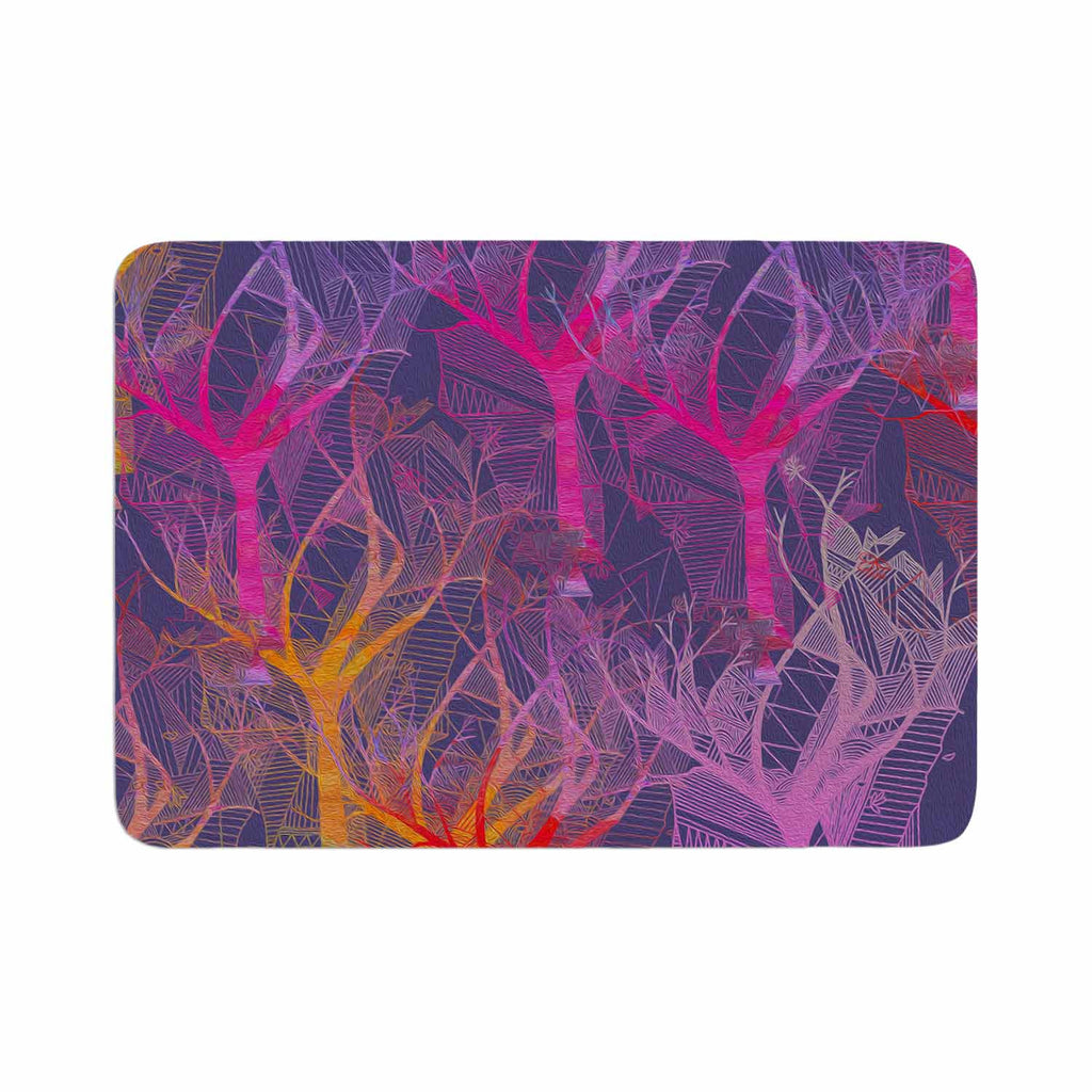 "Marianna Tankelevich ""Colorful Trees "" Purple Abstract Memory Foam Bath Mat - KESS InHouse"