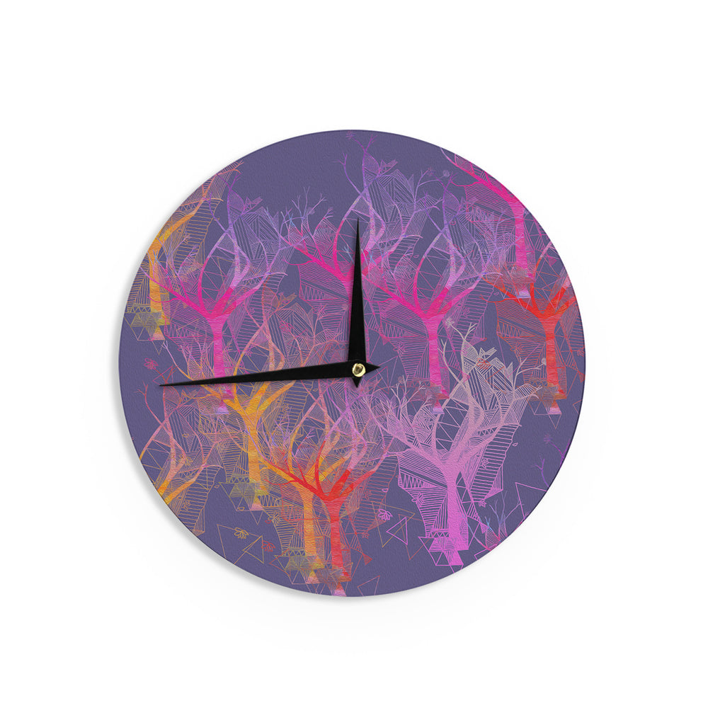 "Marianna Tankelevich ""Colorful Trees "" Purple Abstract Wall Clock - KESS InHouse"