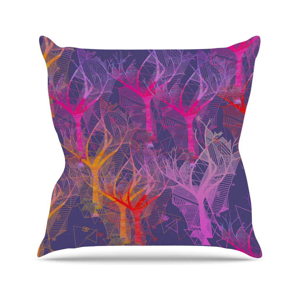 "Marianna Tankelevich ""Colorful Trees "" Purple Abstract Outdoor Throw Pillow - KESS InHouse  - 1"