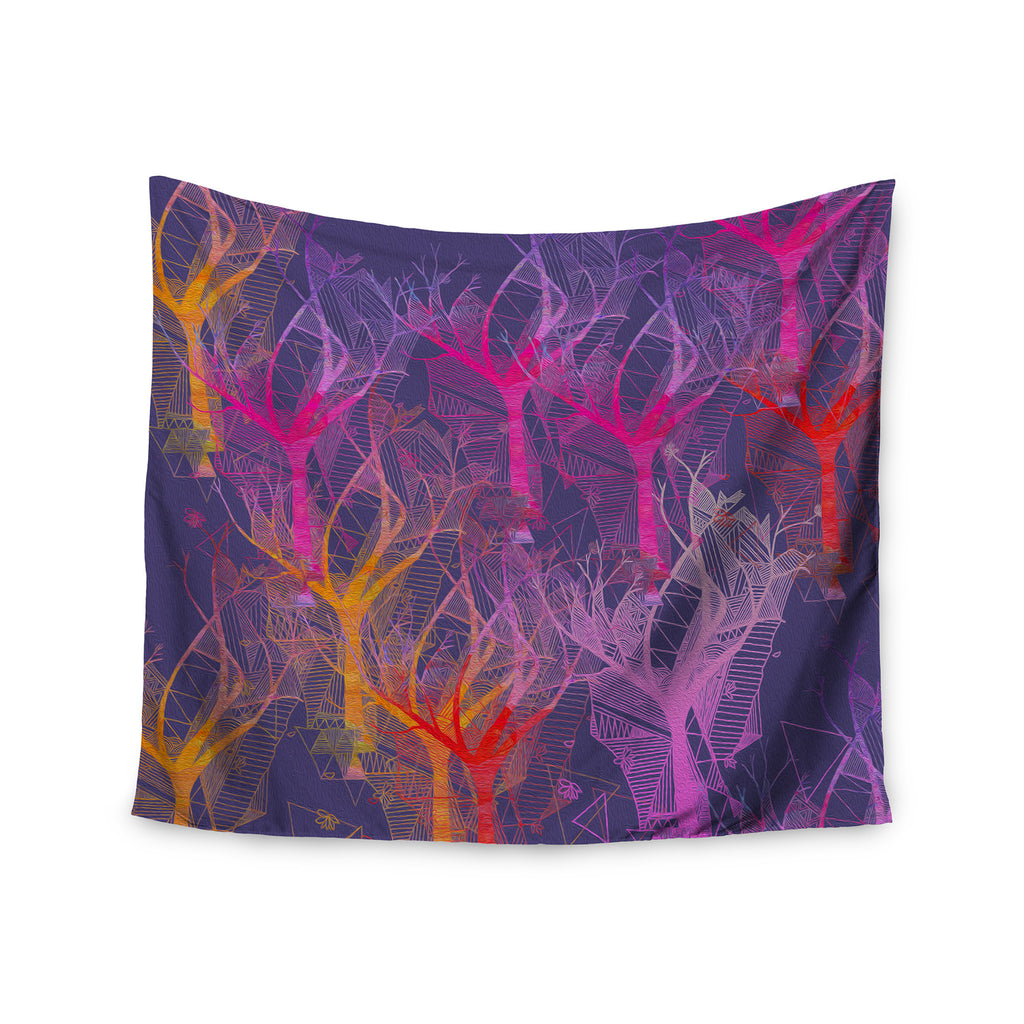 "Marianna Tankelevich ""Colorful Trees "" Purple Abstract Wall Tapestry - KESS InHouse  - 1"