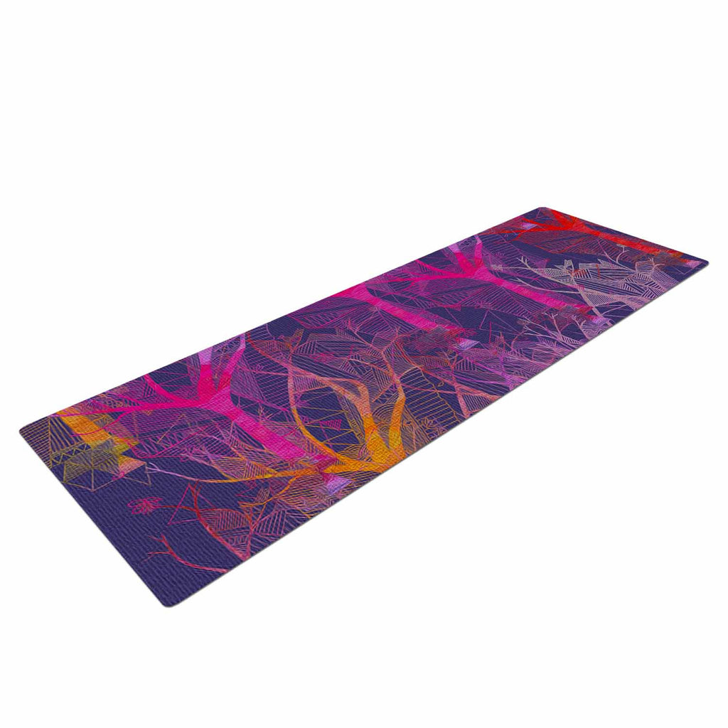 "Marianna Tankelevich ""Colorful Trees "" Purple Abstract Yoga Mat - KESS InHouse  - 1"