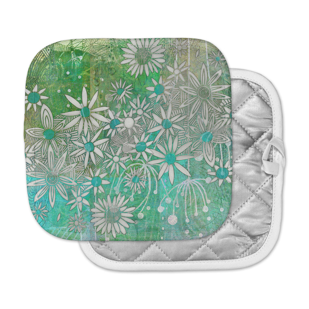 "Marianna Tankelevich ""Spring Daisies"" Green White Pot Holder"