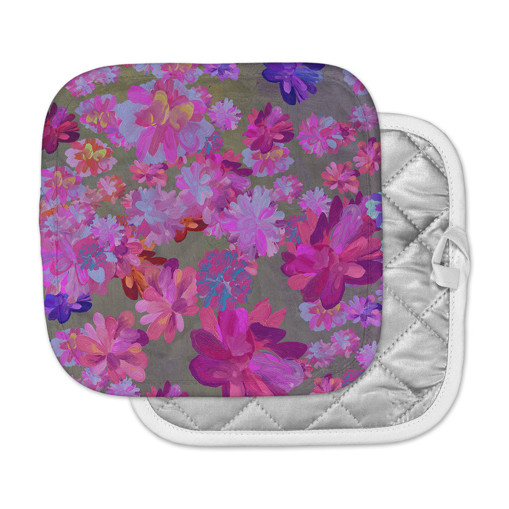 "Marianna Tankelevich ""Purple Flowers"" Pink Blue Pot Holder"