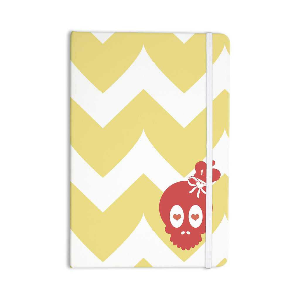 "Nick Atkinson ""Skull II"" Yellow Chevron Everything Notebook - KESS InHouse  - 1"