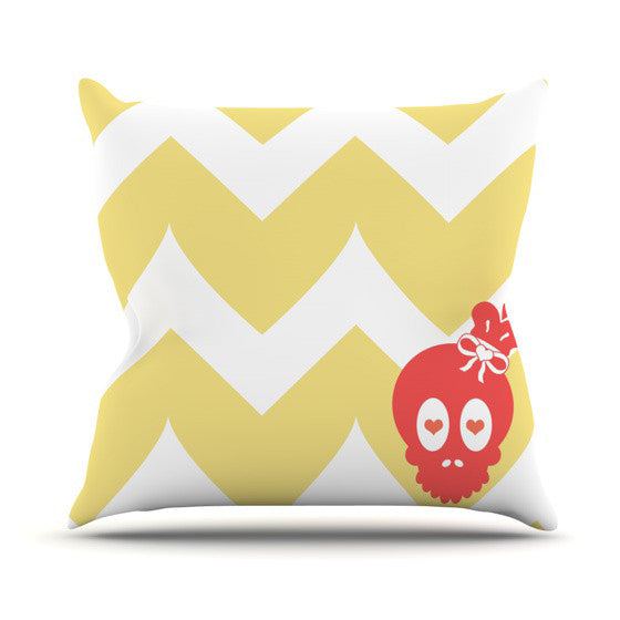 "Nick Atkinson ""Skull II"" Yellow Chevron Throw Pillow - KESS InHouse  - 1"