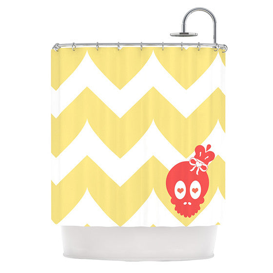 "Nick Atkinson ""Skull II"" Yellow Chevron Shower Curtain - KESS InHouse"
