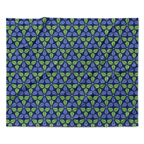 "Nick Atkinson ""Infinite Flowers Blue"" Fleece Throw Blanket"