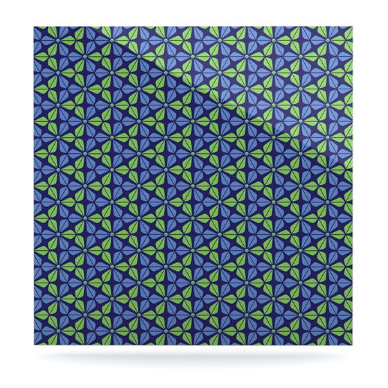 "Nick Atkinson ""Infinite Flowers Blue"" Luxe Square Panel - KESS InHouse  - 1"