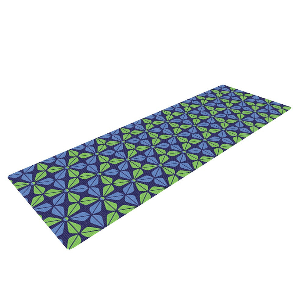 "Nick Atkinson ""Infinite Flowers Blue"" Yoga Mat - KESS InHouse  - 1"