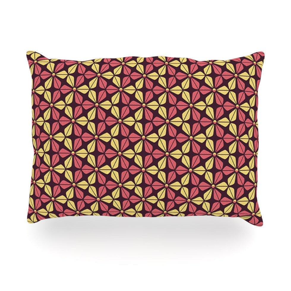 "Nick Atkinson ""Infinite Flowers Red"" Oblong Pillow - KESS InHouse"