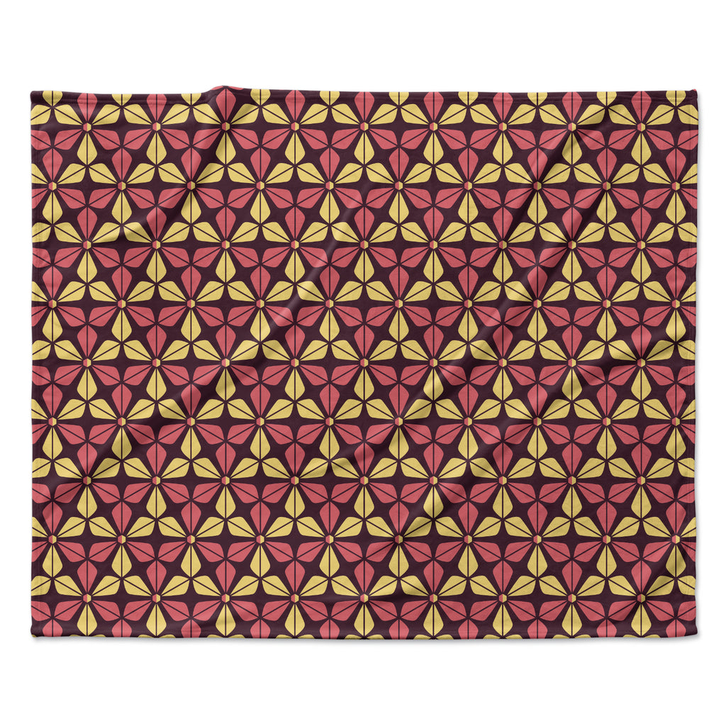 "Nick Atkinson ""Infinite Flowers Red"" Fleece Throw Blanket"