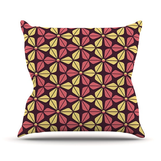 "Nick Atkinson ""Infinite Flowers Red"" Throw Pillow - KESS InHouse  - 1"
