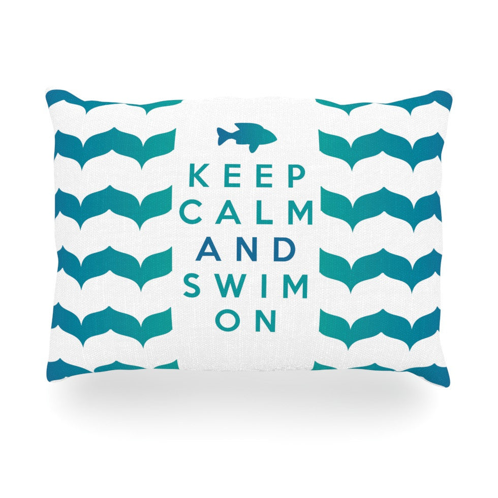 "Nick Atkinson ""Keep Calm and Swim On"" Teal White Oblong Pillow - KESS InHouse"