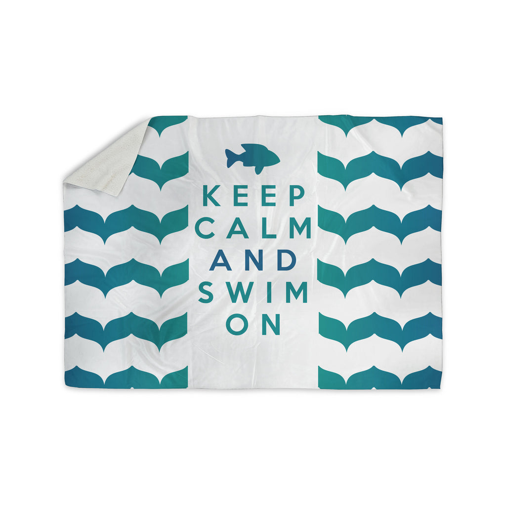 "Nick Atkinson ""Keep Calm and Swim On"" Teal White Sherpa Blanket - KESS InHouse  - 1"