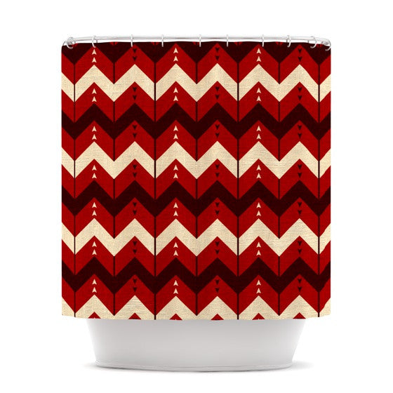 "Nick Atkinson ""Chevron Dance Red"" Shower Curtain - KESS InHouse"