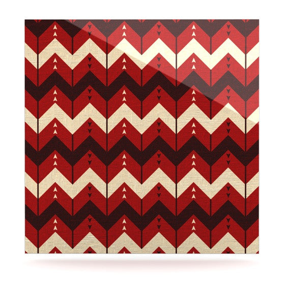 "Nick Atkinson ""Chevron Dance Red"" Luxe Square Panel - KESS InHouse"