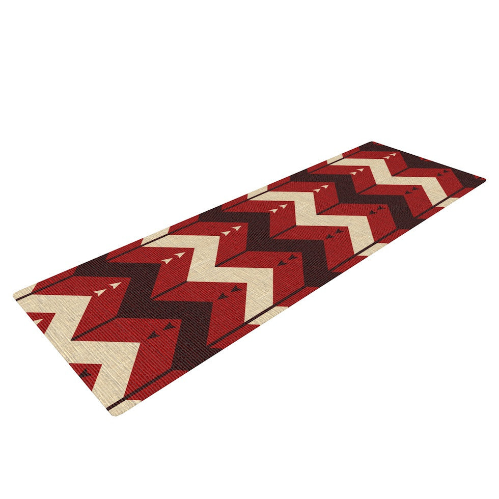 "Nick Atkinson ""Chevron Dance Red"" Yoga Mat - KESS InHouse  - 1"