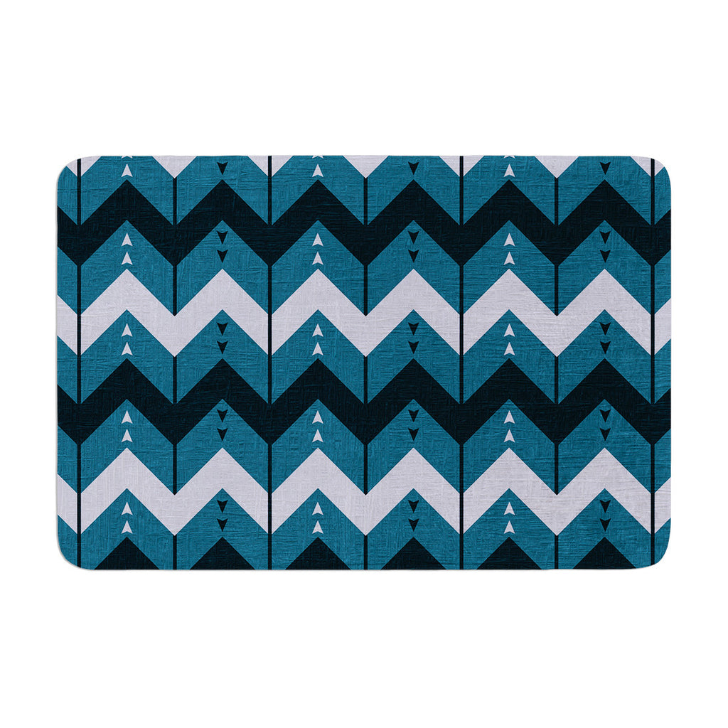 "Nick Atkinson ""Chevron Dance Blue"" Memory Foam Bath Mat - KESS InHouse"