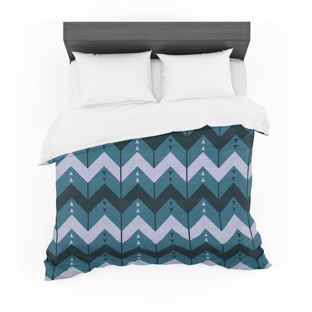 "Nick Atkinson ""Chevron Dance Blue"" Cotton Duvet"
