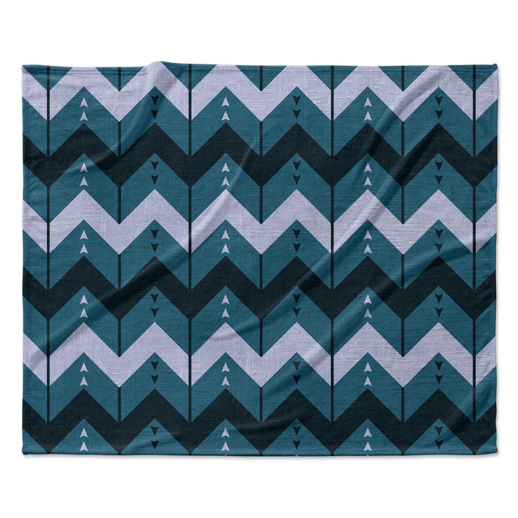 "Nick Atkinson ""Chevron Dance Blue"" Fleece Throw Blanket"