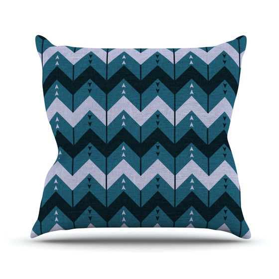 "Nick Atkinson ""Chevron Dance Blue"" Outdoor Throw Pillow - KESS InHouse  - 1"
