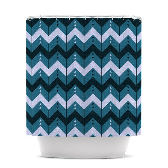 "Nick Atkinson ""Chevron Dance Blue"" Shower Curtain - KESS InHouse"