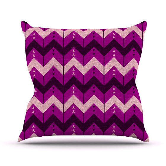 "Nick Atkinson ""Chevron Dance Purple"" Outdoor Throw Pillow - KESS InHouse  - 1"