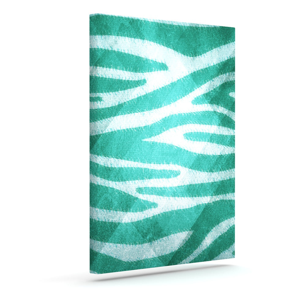 "Nick Atkinson ""Blue Zebra Print Texture"" Outdoor Canvas Wall Art - KESS InHouse"