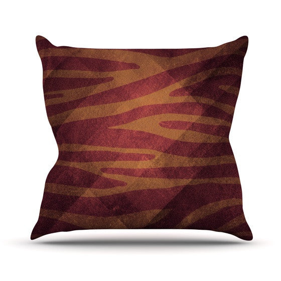 "Nick Atkinson ""Red Zebra Texture"" Outdoor Throw Pillow - KESS InHouse  - 1"