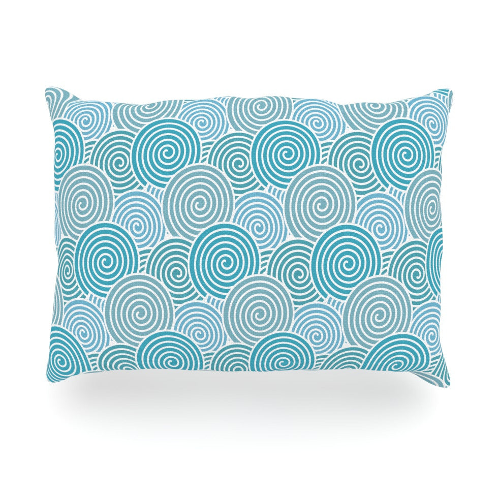 "Nick Atkinson ""Ocean Swirl"" Teal Green Oblong Pillow - KESS InHouse"