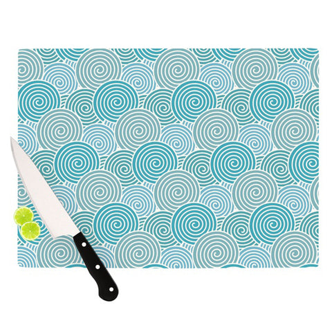 "Nick Atkinson ""Ocean Swirl"" Teal Green Cutting Board - Outlet Item"