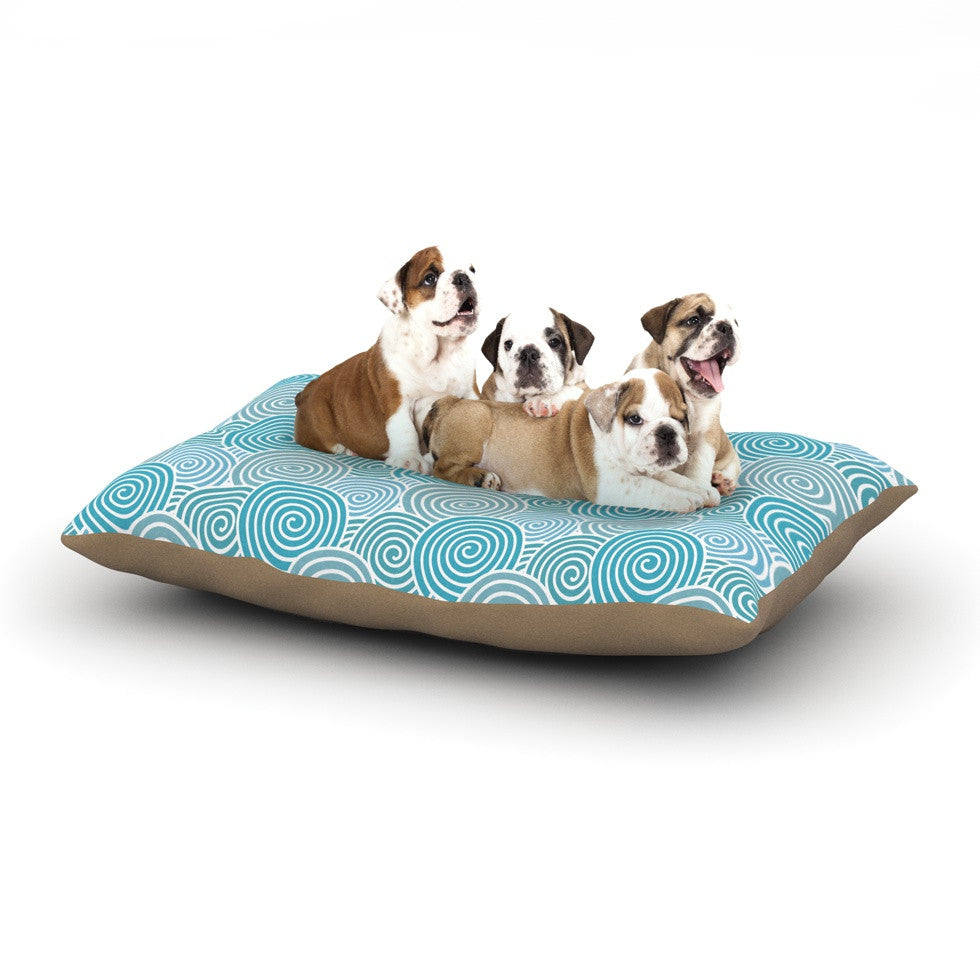"Nick Atkinson ""Ocean Swirl"" Teal Green Dog Bed - KESS InHouse  - 1"