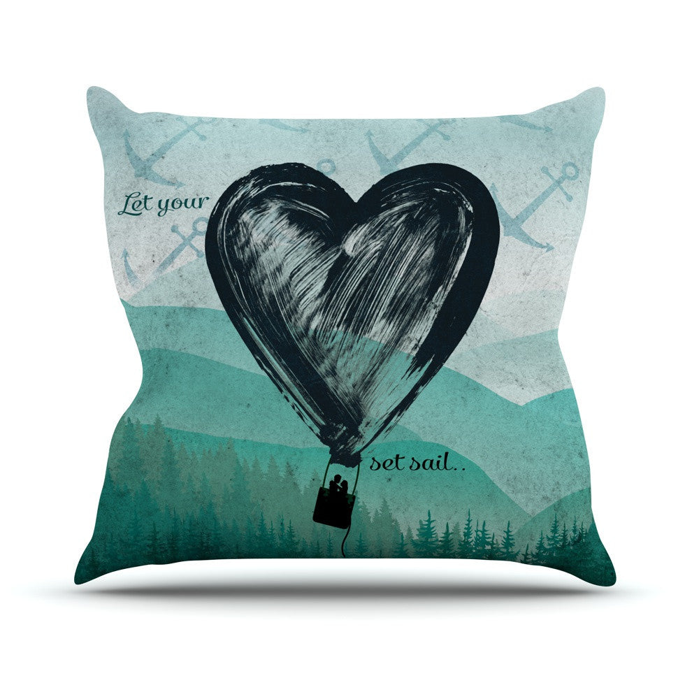 "Nick Atkinson ""Heart Set Sail""  Outdoor Throw Pillow - KESS InHouse  - 1"
