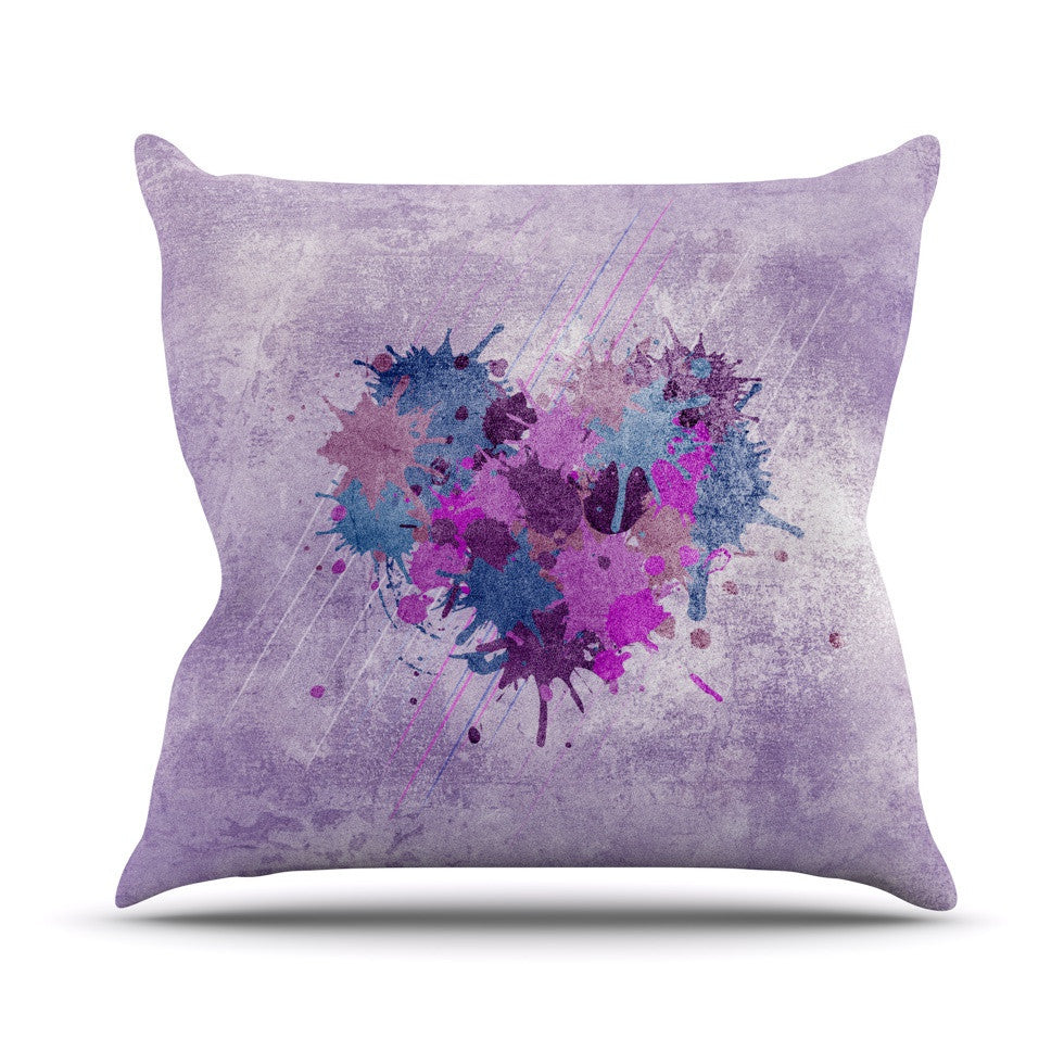 "Nick Atkinson ""Painted Heart""  Outdoor Throw Pillow - KESS InHouse  - 1"