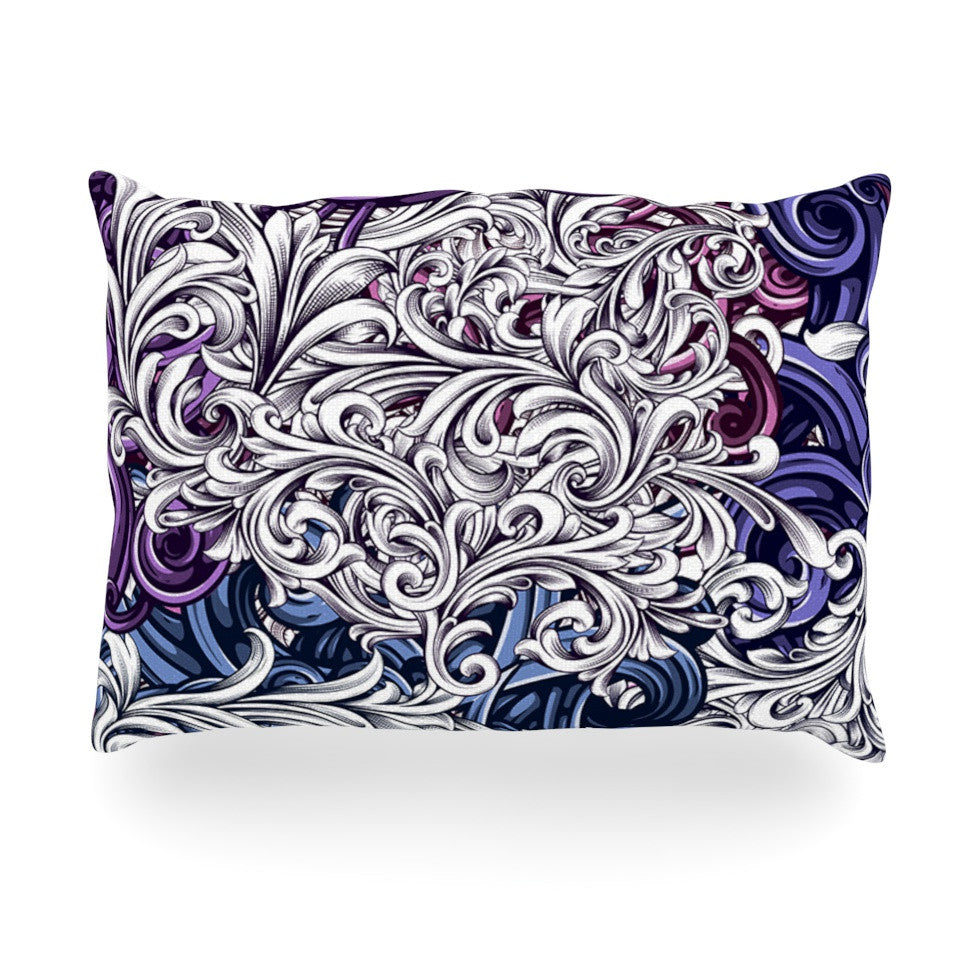 "Nick Atkinson ""Celtic Floral I"" Purple Abstract Oblong Pillow - KESS InHouse"