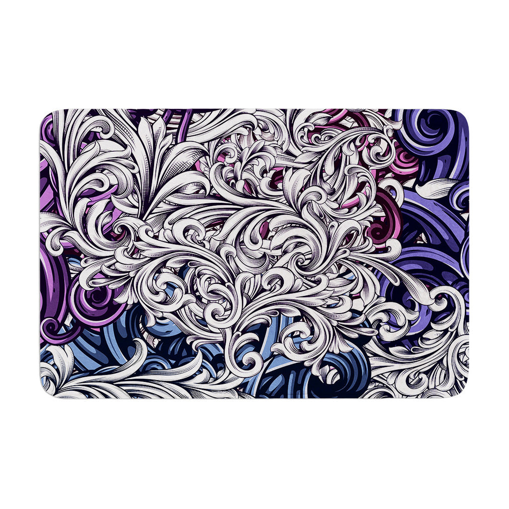 "Nick Atkinson ""Celtic Floral I"" Purple Abstract Memory Foam Bath Mat - KESS InHouse"