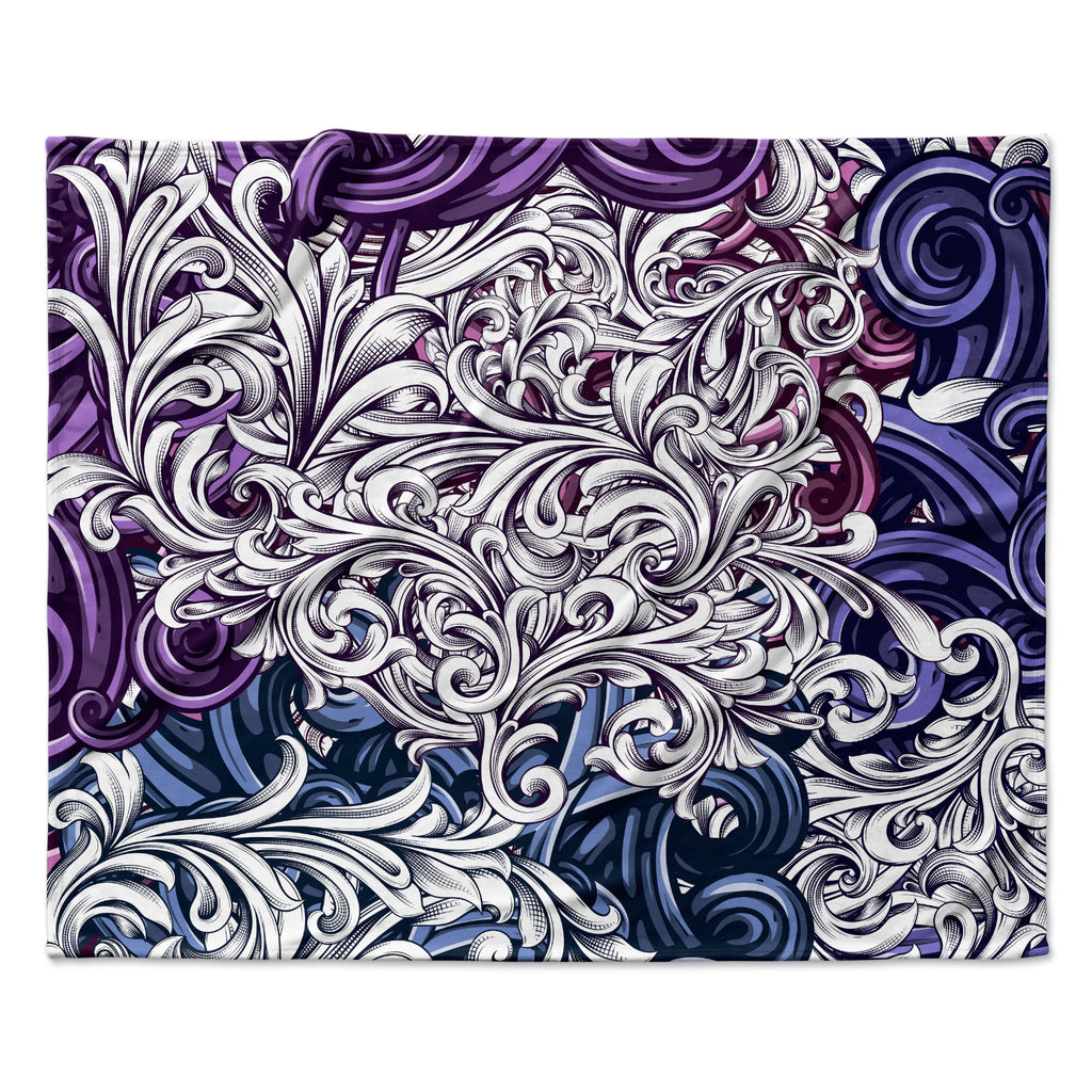"Nick Atkinson ""Celtic Floral I"" Purple Abstract Fleece Throw Blanket"