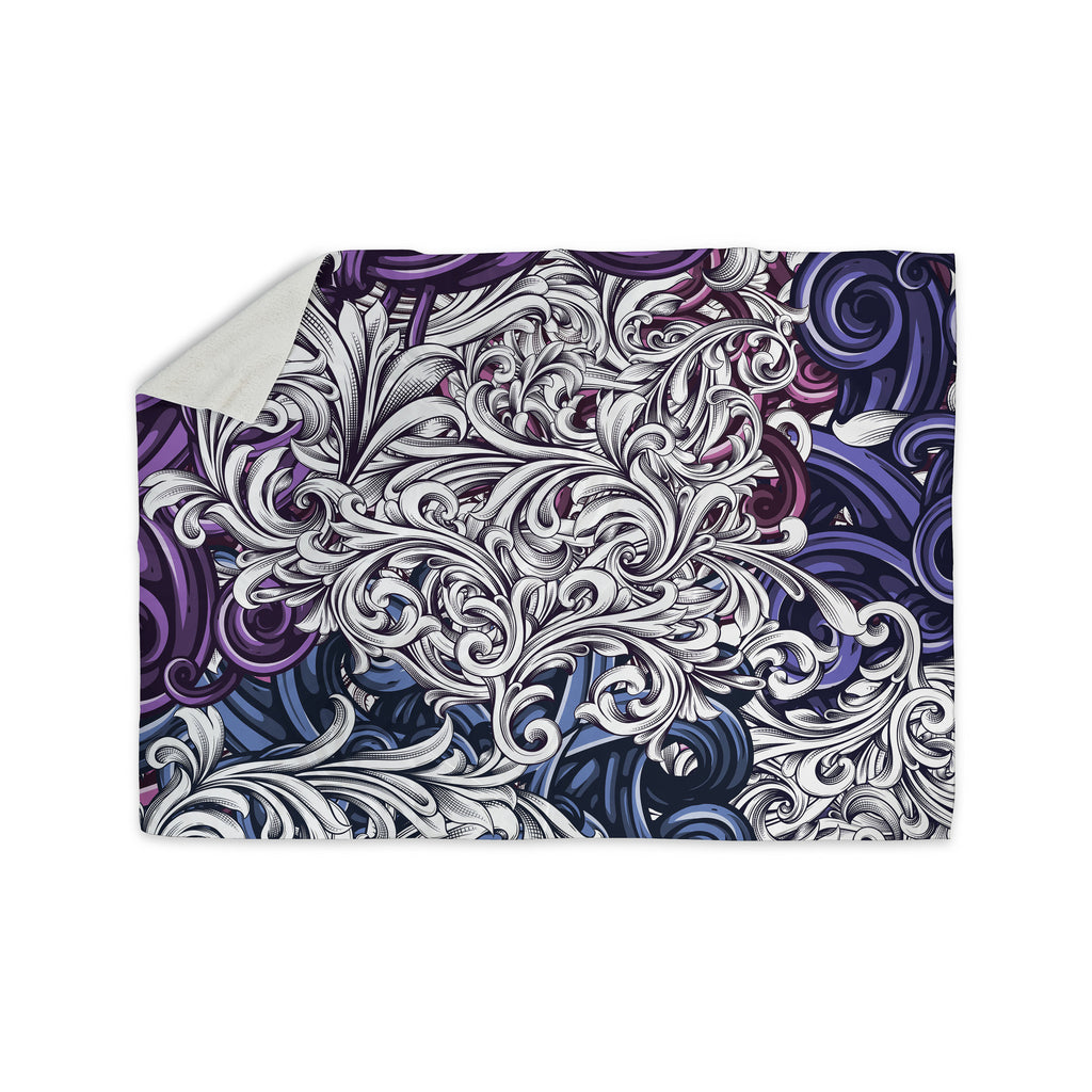 "Nick Atkinson ""Celtic Floral I"" Purple Abstract Sherpa Blanket - KESS InHouse  - 1"