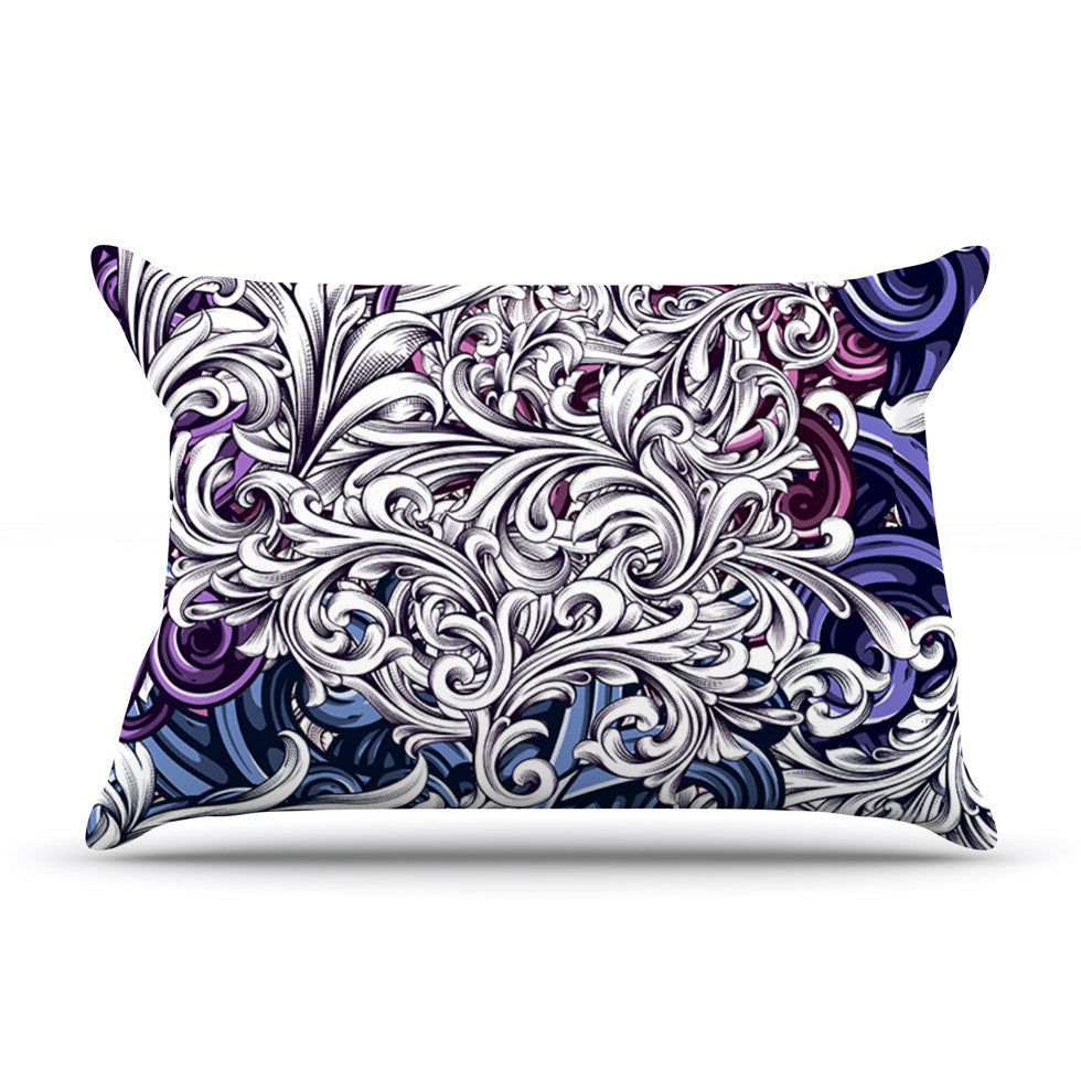 "Nick Atkinson ""Celtic Floral I"" Purple Abstract Pillow Sham - KESS InHouse"