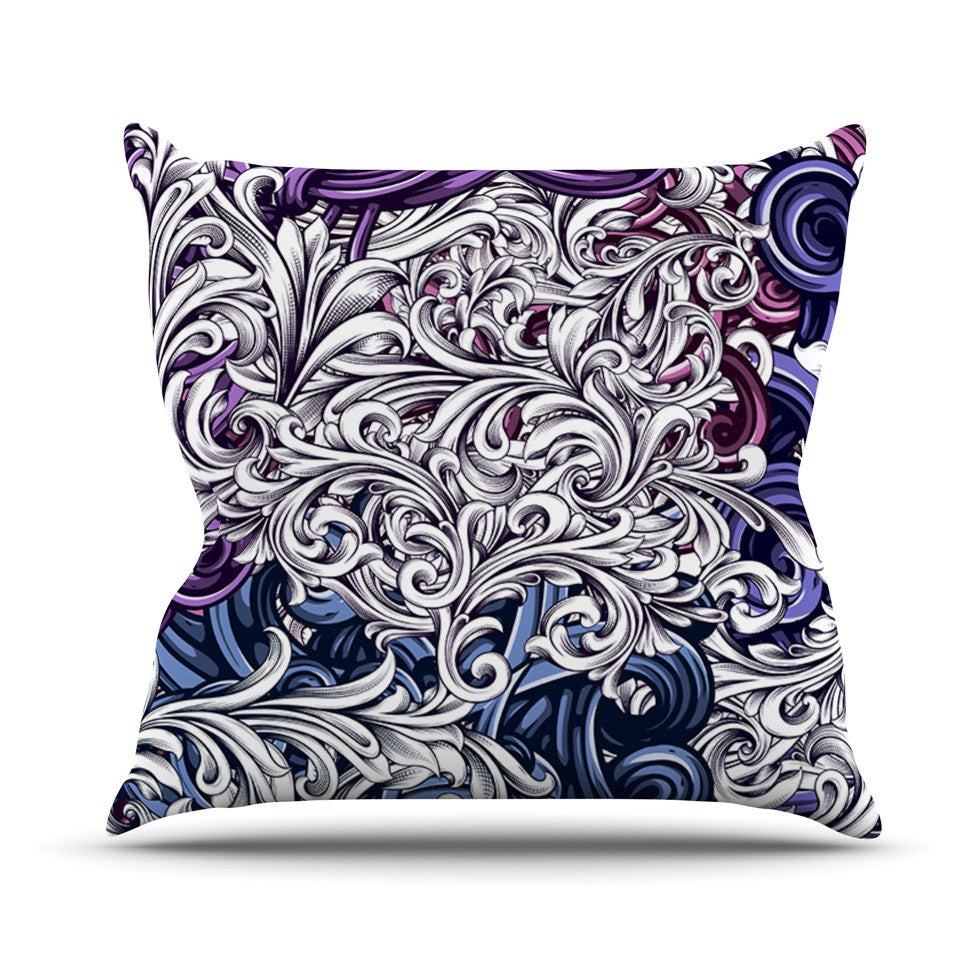 "Nick Atkinson ""Celtic Floral I"" Purple Abstract Outdoor Throw Pillow - KESS InHouse  - 1"
