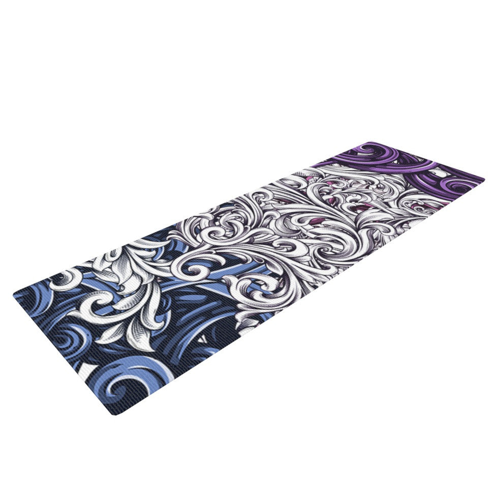 "Nick Atkinson ""Celtic Floral I"" Purple Abstract Yoga Mat - KESS InHouse  - 1"