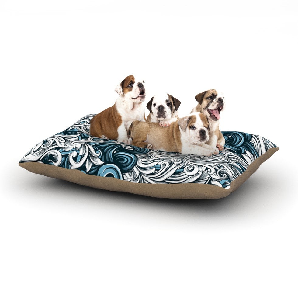 "Nick Atkinson ""Celtic Floral II"" Abstract Blue Dog Bed - KESS InHouse  - 1"